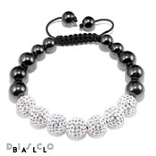 Disco Ball White & Magnetite 7x10mm Crystal Bracelet
