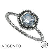 Argento Flower Cubic Zirconia Twist Ring