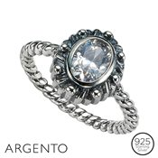 Argento Oval Cubic Zirconia  Twist Ring