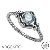 Argento Cubic Zirconia Twist Ring