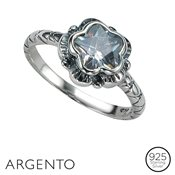 Argento Cubic Zirconia Flower Ring