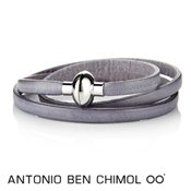 Antonio Ben Chimol Sweet Grey Leather Rainbow Bracelet