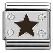 Nomination Black Star Plate Charm