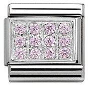 Nomination Pink Cubic Zirconia Plate Charm