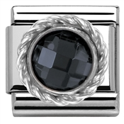 Nomination Round Faceted Black Charm