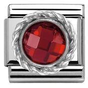 Nomination Round Faceted Red Charm