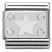 Nomination White Star Plate Charm