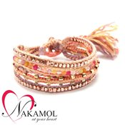 Nakamol Design Coral Plaited Friendship Bracelet