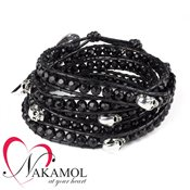 Nakamol Design Polished Onyx Skull Wrap Bracelet