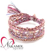 Nakamol Design Pink Plaited Friendship Bracelet