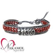 Nakamol Design Ruby Quartz Skull Friendship Bracelet