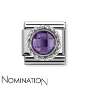 Nomination Round Faceted Purple Charm