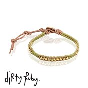 Dirty Ruby Gold Beads Leather Bracelet