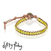 Dirty Ruby Olive Jade Leather Bracelet