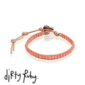 Dirty Ruby Pink Coral Leather Bracelet