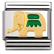 Nomination Charm Green Elephant