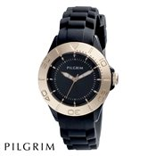 PILGRIM Rose Gold & Black Rubber Watch