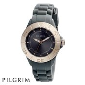 PILGRIM Rose Gold And Grey Rubber Watch