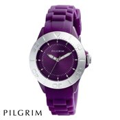 PILGRIM Silver And Purple Rubber Watch