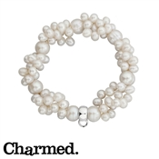 Charmed Clustered Pearl Charm Bracelet