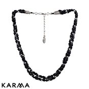 Karma Black Beaded Strand Necklace