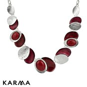 Karma Red Cracked Enamel Necklace