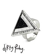 Dirty Ruby Black Chevron Ring