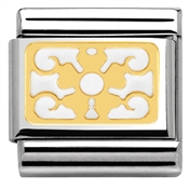 Nomination White Enamel Flower and Deco Plaque Charm