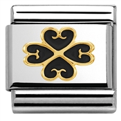Nomination Black Enamel Four-Leaf Clover Heart Charm