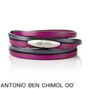 Antonio Ben Chimol Fuchsia and Grey Bullet Bracelet