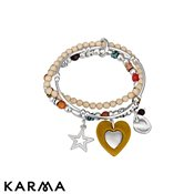 Karma Cream Beaded Charm Bracelet