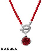 Karma Red Beaded Rose Necklace