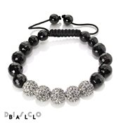Disco Ball Full Black Diamond & Faceted Onyx Bracelet
