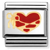 Nomination Red Enamel Heart with Ribbon Charm