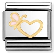 Nomination Pink Enamel Butterfly Heart Charm