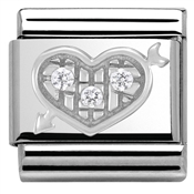 Nomination Silvershine White Crystal Heart Charm