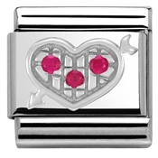 Nomination Silvershine Red Crystal Heart Charm