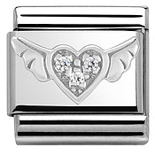 Nomination Silvershine Crystal Flying Heart Charm