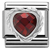 Nomination Red Cubic Zirconia Faceted Heart Charm