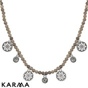 Karma Ethereal Grey Beaded Disc Necklace