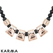Karma Ethereal Grey Hammered Beaded Necklace