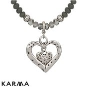 Karma Ethereal Long Grey Heart Necklace