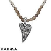 Karma Ethereal Long Silver Heart Necklace