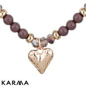 Karma Ethereal Mauve Beaded Heart Necklace