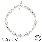 Silver Pearl Crystal Bracelet by Argento