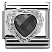 Nomination Black Crystal Heart Charm