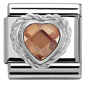 Nomination Champagne Crystal Heart Charm