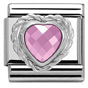 Pink Crystal Heart Charm  by Nomination