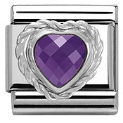 Purple Crystal Heart Charm  by Nomination