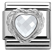 Clear Crystal Heart Charm by Nomination